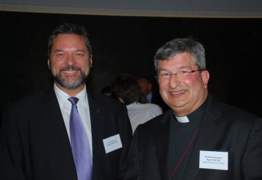 The Attorney General Mr Michael Mischin chats with the Anglican Archbishop Roger Herft at the opening